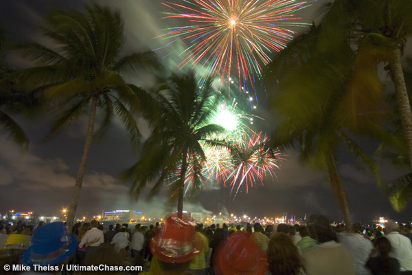 New Years Fireworks Stock Photos from Miami Florida